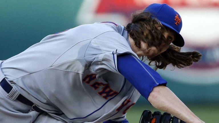 New York Mets starter Jacob deGrom follows through