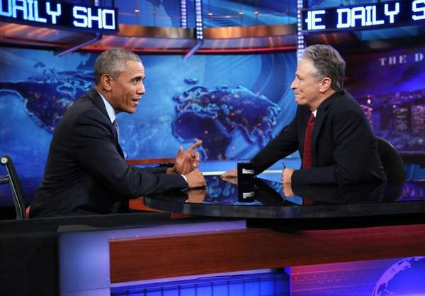 President Barack Obama joins Jon Stewart for a