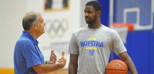 Hofstra's Ameen Tanksley, right, chats with head coach
