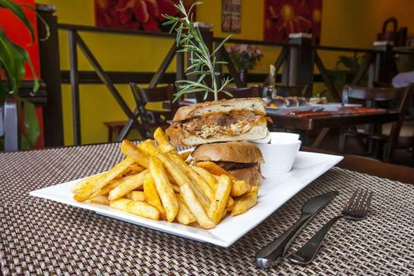 El Puerquito, a sumptuous pork sandwich, is served