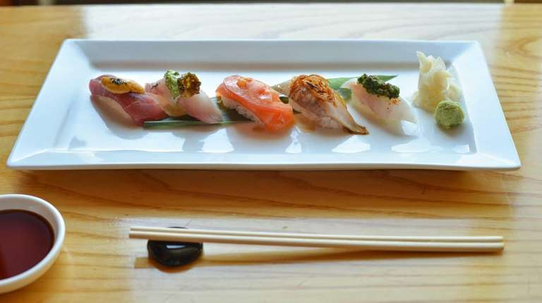 The chef's five-piece selection of sushi highlighted dining