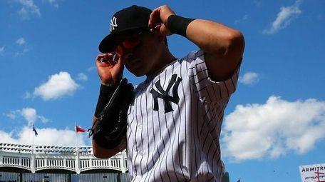 Jacoby Ellsbury of the New York Yankees walks