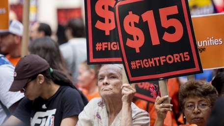 Fast-food workers converge in downtown Manhattan on July