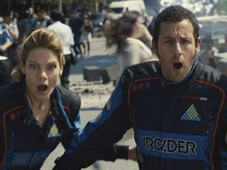 From left, Michelle Monaghan, Adam Sandler and Josh