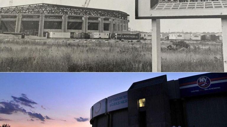 Nassau Coliseum under construction and Nassau Coliseum today.