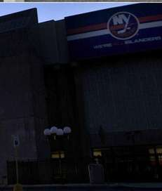 Nassau Coliseum under construction and Nassau Coliseum today.
