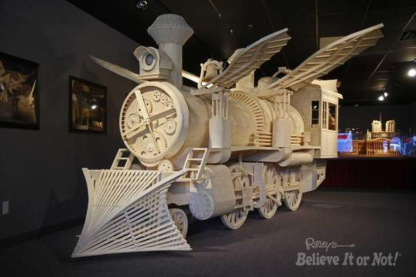 A world-record train made of matchsticks will be