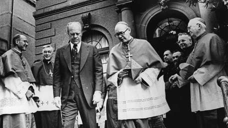 President Gerald Ford and Cardinal William Baum leave