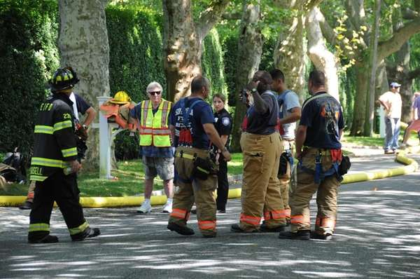 A multi-alarm fire burned at a Southampton mansion