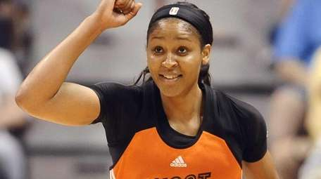 West's Maya Moore, of the Minnesota Lynx, reacts