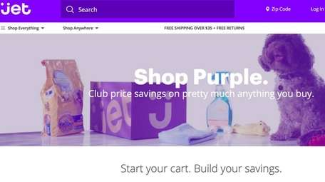 A screen shot of Jet.com's home page on