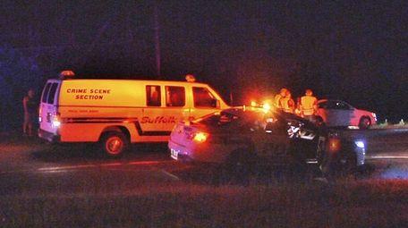 Police and crime scene investigators at the scene