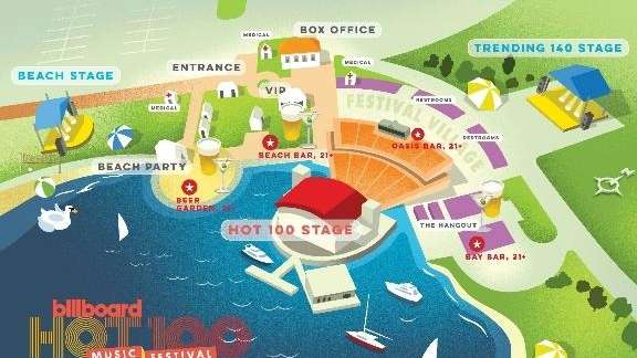 The map for the Billboard Hot 100 Festival,