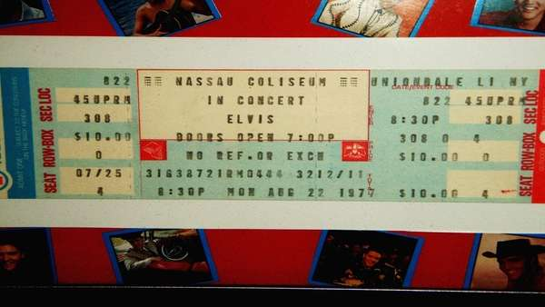 A ticket from the concert that Elvis was