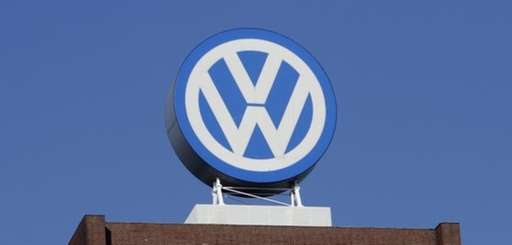 The Volkswagen logo is photographed at the company's