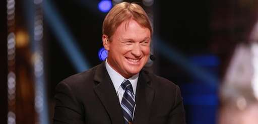 Jon Gruden is seen on the set during