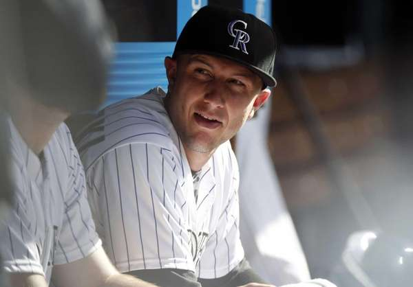 Colorado Rockies shortstop Troy Tulowitzki looks on against