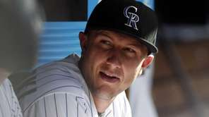Colorado Rockies shortstop Troy Tulowitzki looks on against