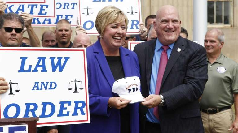 Hempstead Town Supervisor Kate Murray gets a hat