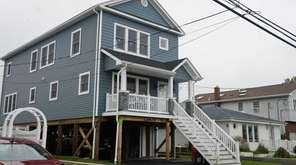 The front of an elevated home in Lindenhurst