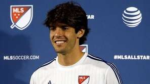 Kaka #22 of MLS All Stars receives the