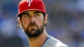 Philadelphia Phillies starting pitcher Cole Hamels looks on