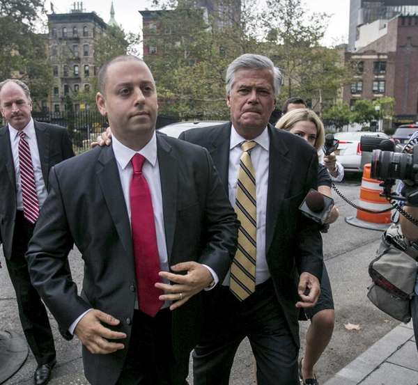 Former State Senate Majority Leader Dean Skelos, right,