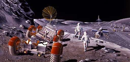 This artist's concept of a lunar base was