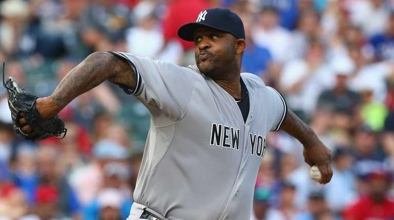 CC Sabathia of the New York Yankees throws