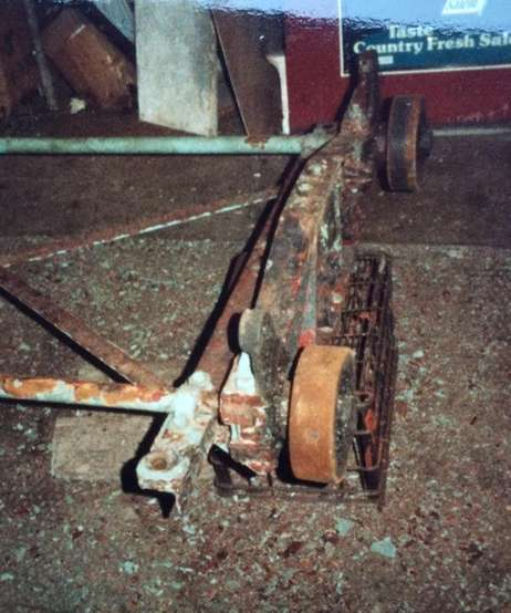 A part of one of the cars of the Wonder Wheel before it was refurbished in the 1980s by the Vourderis family. Credit: The Vourderis family