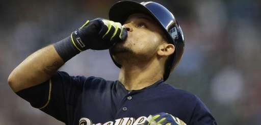 Gerardo Parra of the Milwaukee Brewers reacts after