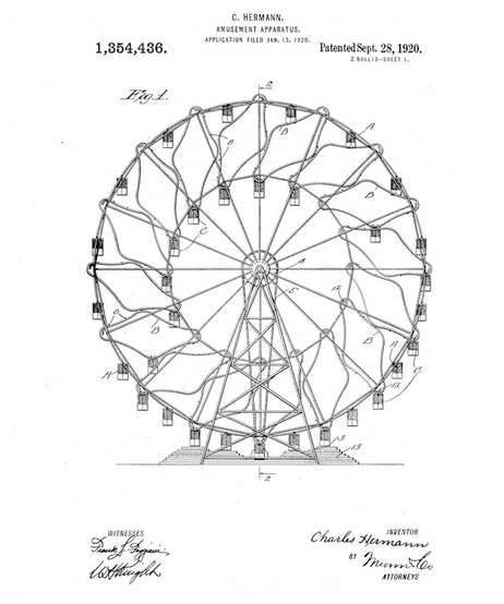 An illustration of the original design of the Wonder Wheel by inventor Charles Hermann. Credit: U.S. Patent and Trademark Office