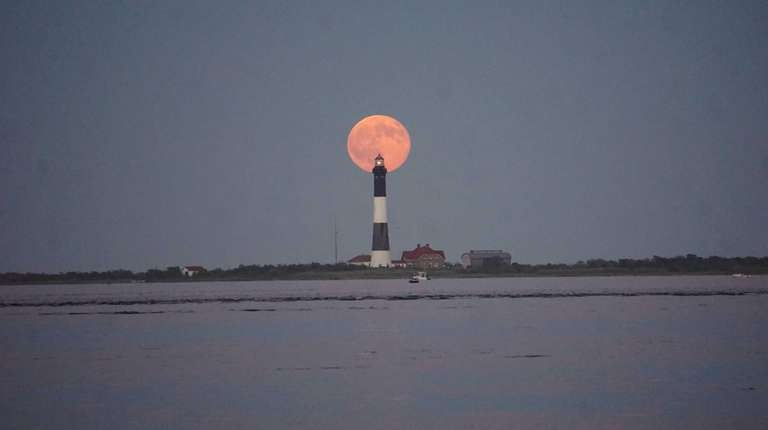 Blue moon over FINS Lighthouse at Captree State