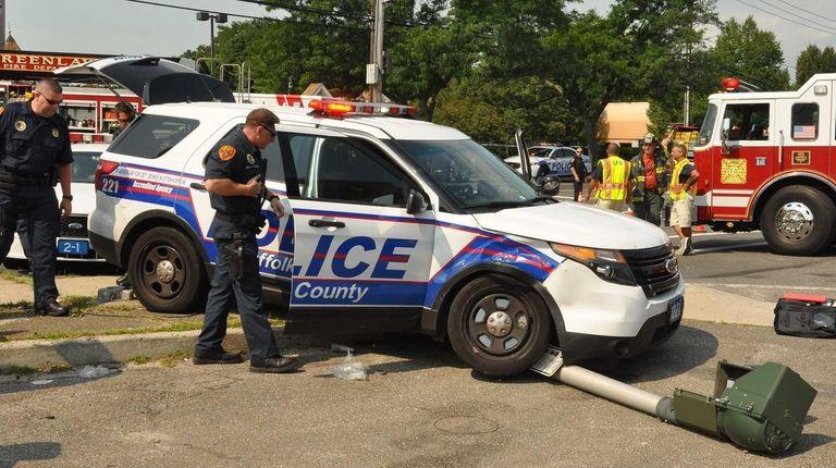 Suffolk County police said a police sport utility