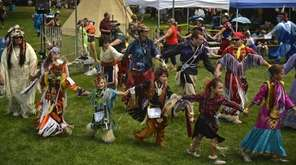 Participants in a traditional American Indian round dance