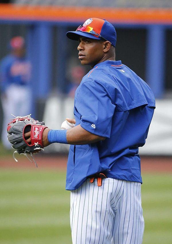 New York Mets leftfielder Yoenis Cespedes is seen