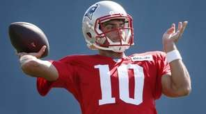 New England Patriots quarterback Jimmy Garoppolo passes during