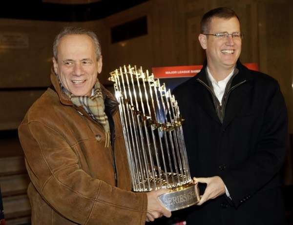 Boston Red Sox CEO Larry Lucchino, left, and