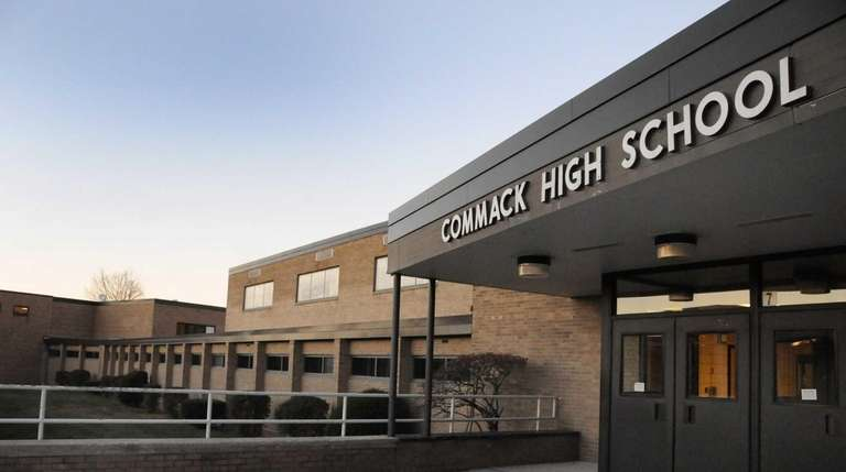 Exterior of Commack High School on Nov. 11,