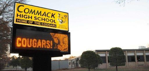 Exterior of Commack High School is shown in