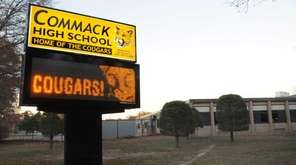 Exterior of Commack High School is shown in