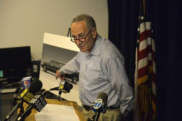 Sen. Chuck Schumer explains to reporters his call