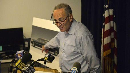Sen. Chuck Schumer explains to reporters his call