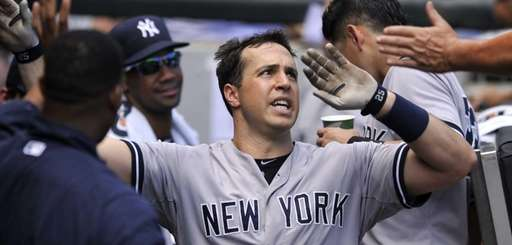 New York Yankees first baseman Mark Teixeira celebrates