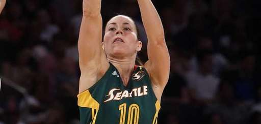 The Seattle Storm's Sue Bird (10) shoots over