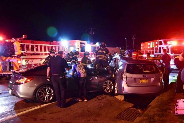Suffolk County police and rescue personnel at the