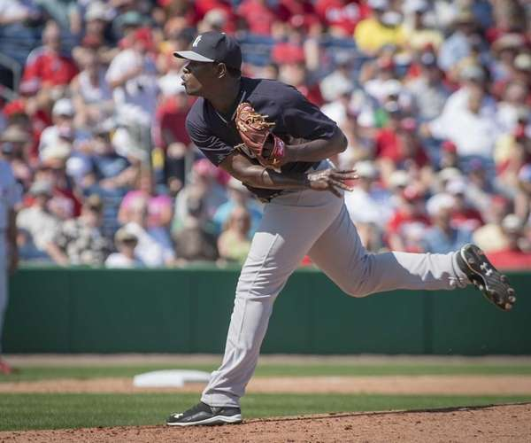 New York Yankees pitcher Luis Severino delivers in