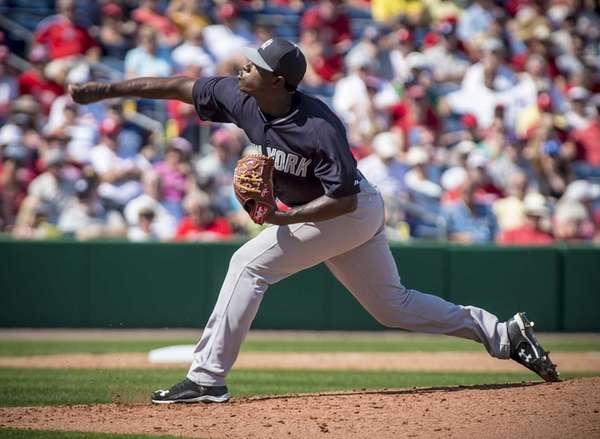 New York Yankees pitcher Luis Severino delivers a