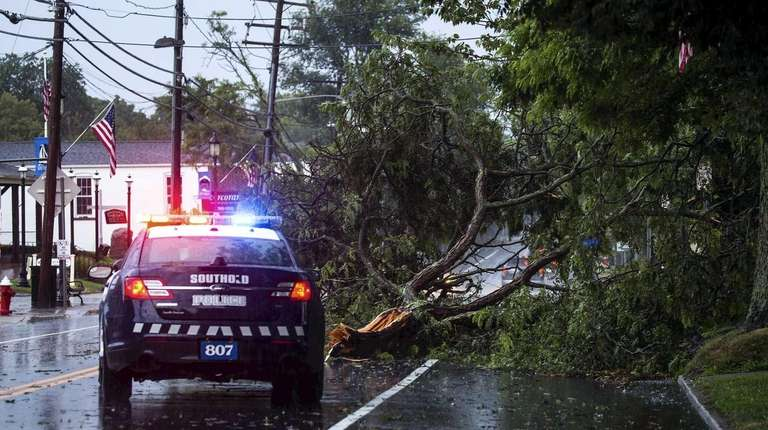 A downed tree on Main Street in Southold