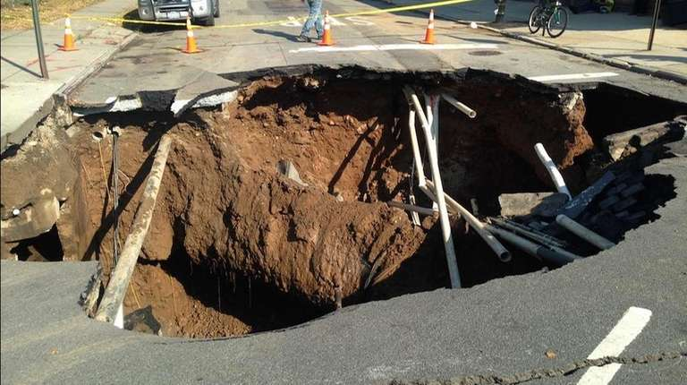 A Brooklyn sinkhole at Fifth Avenue and 64th